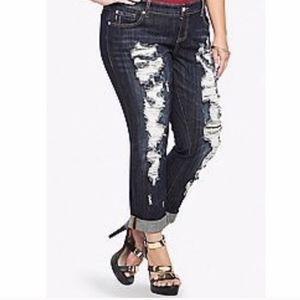 Torrid Ultra Destructed Dark Wash Jeans size 18